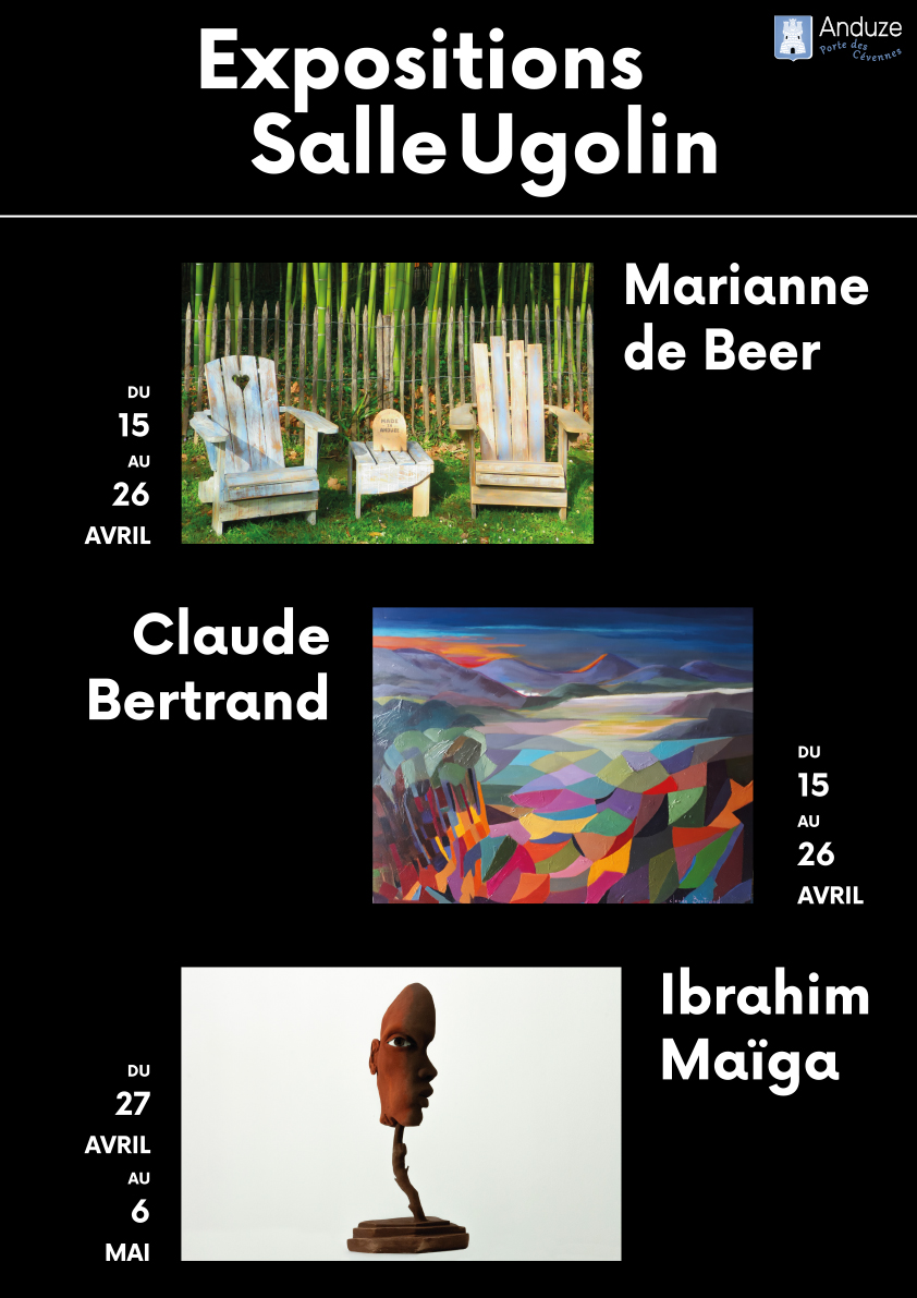 affiche expositions salle Ugolin du 15 avril au 6 mai