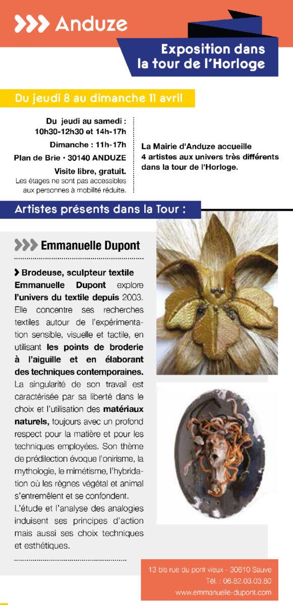 Les Journées Européenness des Métiers d'Art - du 6 au 11 avril - Expositions Tour de l'Horloge