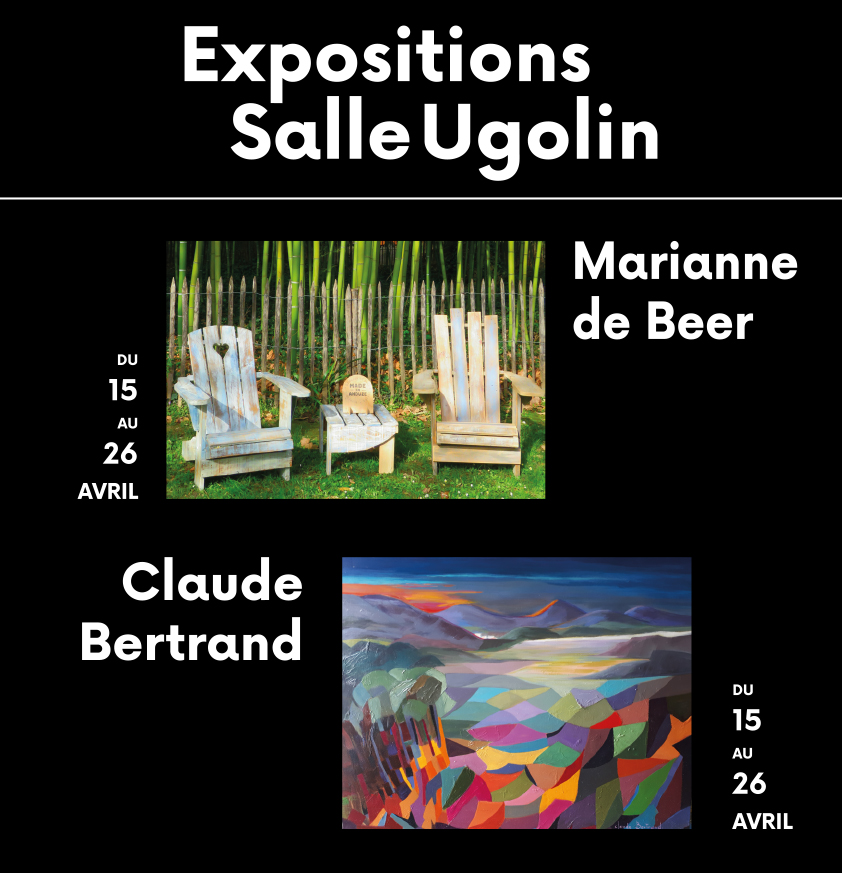 Affiche expositions salle ugolin du 15 au 26 avril 2021