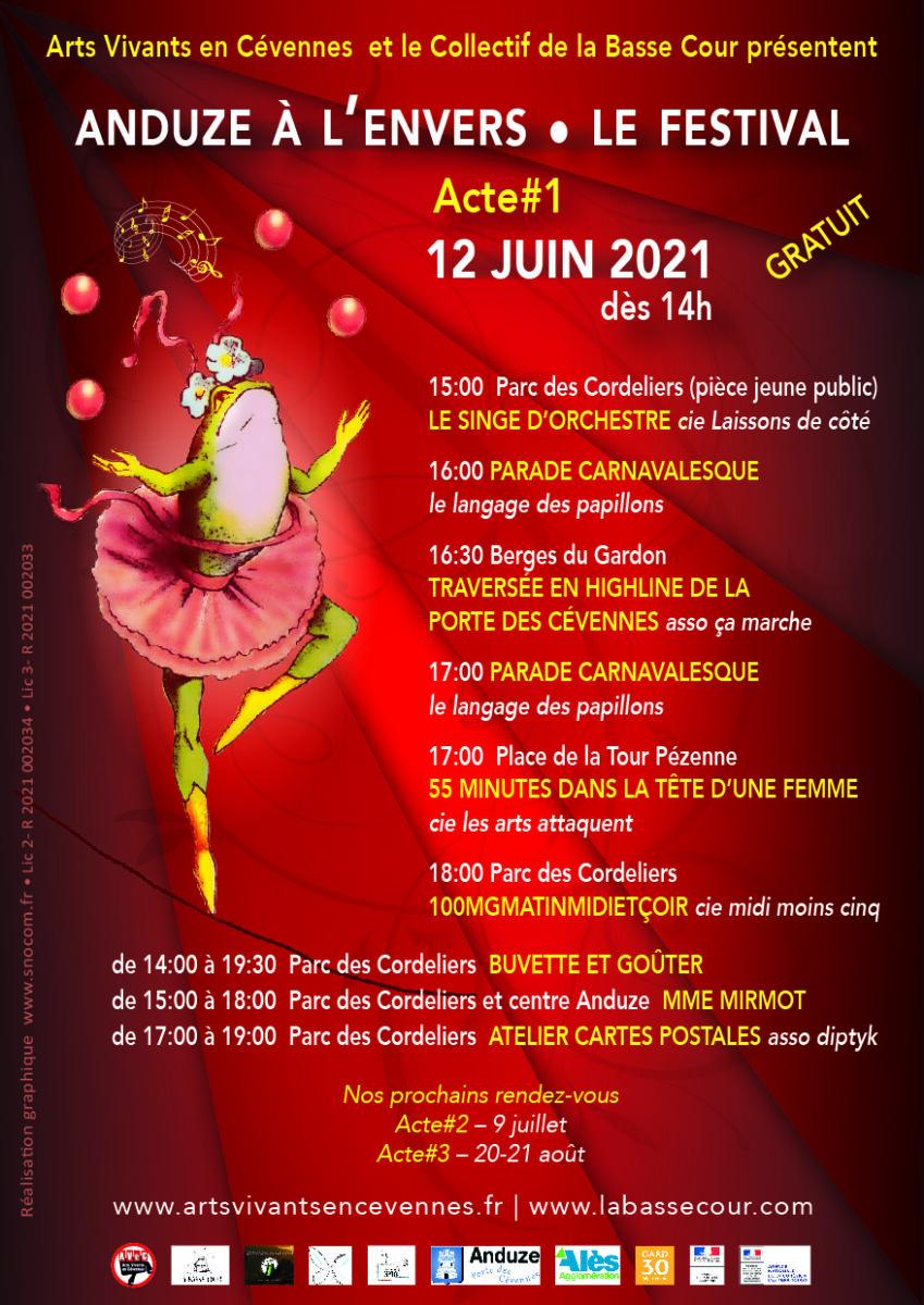 Affiche festival Anduze à l'envers 2021 2